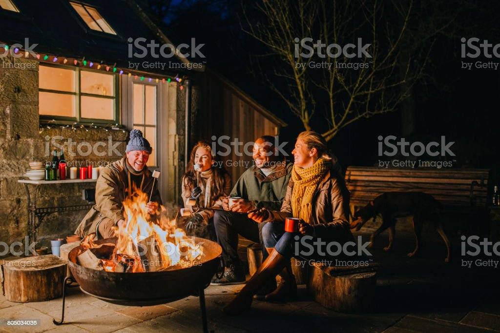 Relaxing Evening by the Fire stock photo