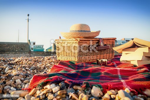 istock Relaxing evening having a picnic on the beach at Hove 585058586