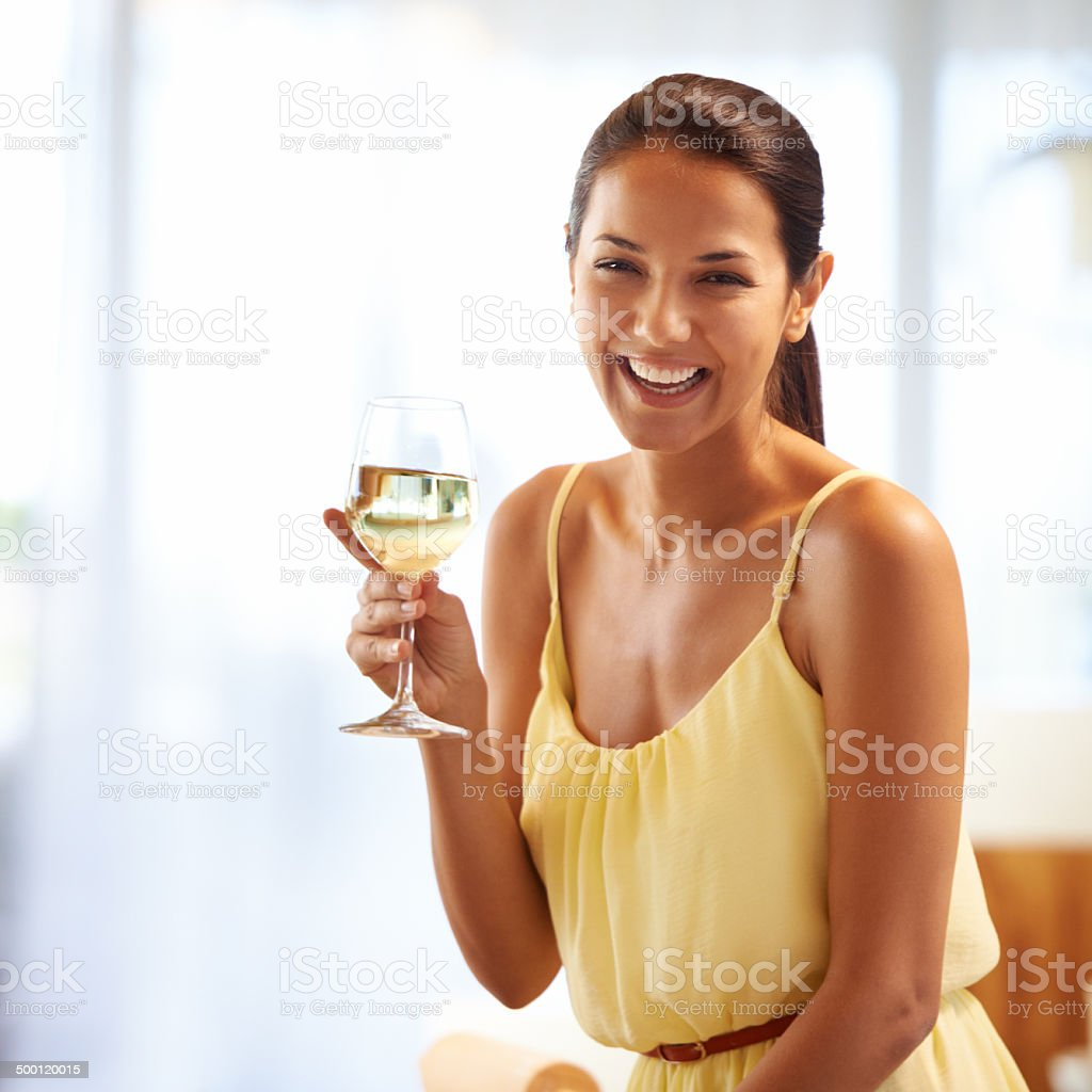 Relaxing evening with a glass of wine royalty-free stock photo