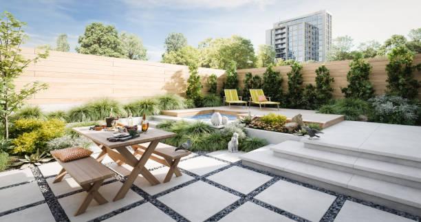 jardim exterior de relaxamento - banco assento - fotografias e filmes do acervo