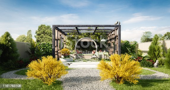 Digitally generated relaxing exterior garden. A perfect place to meditate and relax.  The scene was rendered with photorealistic shaders and lighting in Autodesk® 3ds Max 2020 with V-Ray Next with some post-production added.