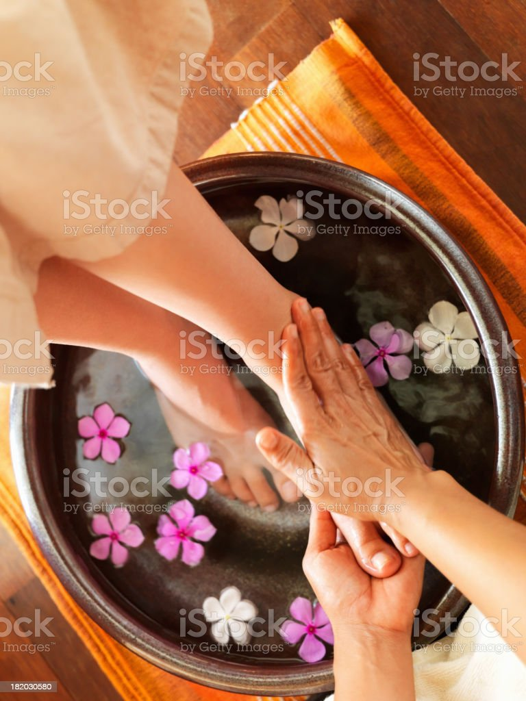 Relaxing foot spa stock photo