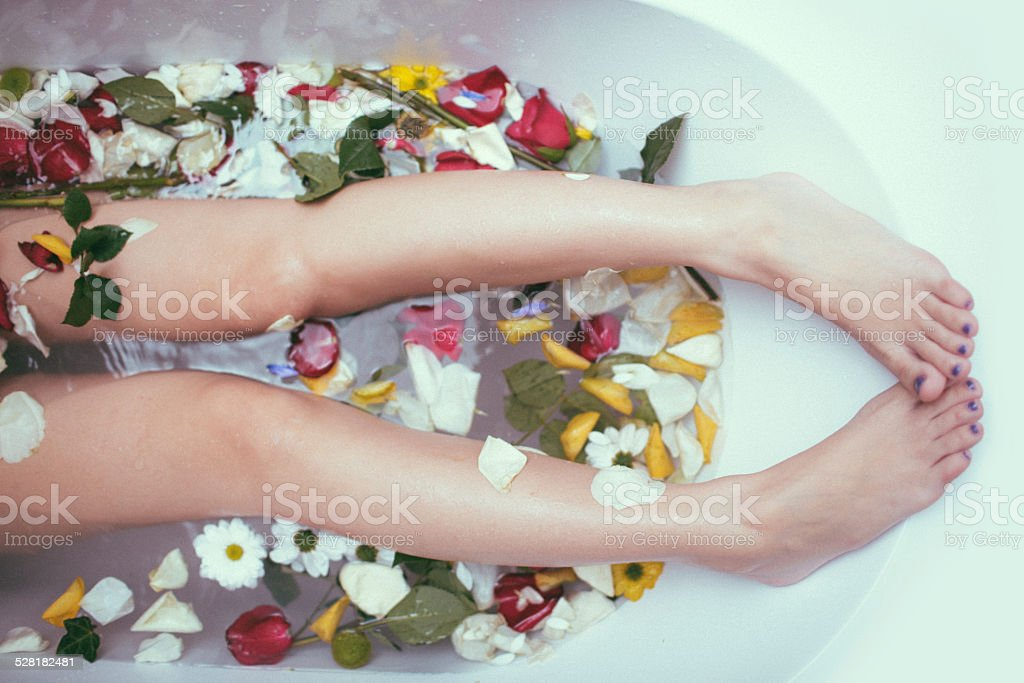Relaxing fresh bath stock photo