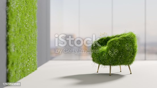 A grassy chair in a relaxing room