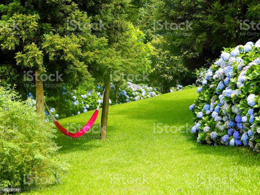 Relaxing green garden. stock photo