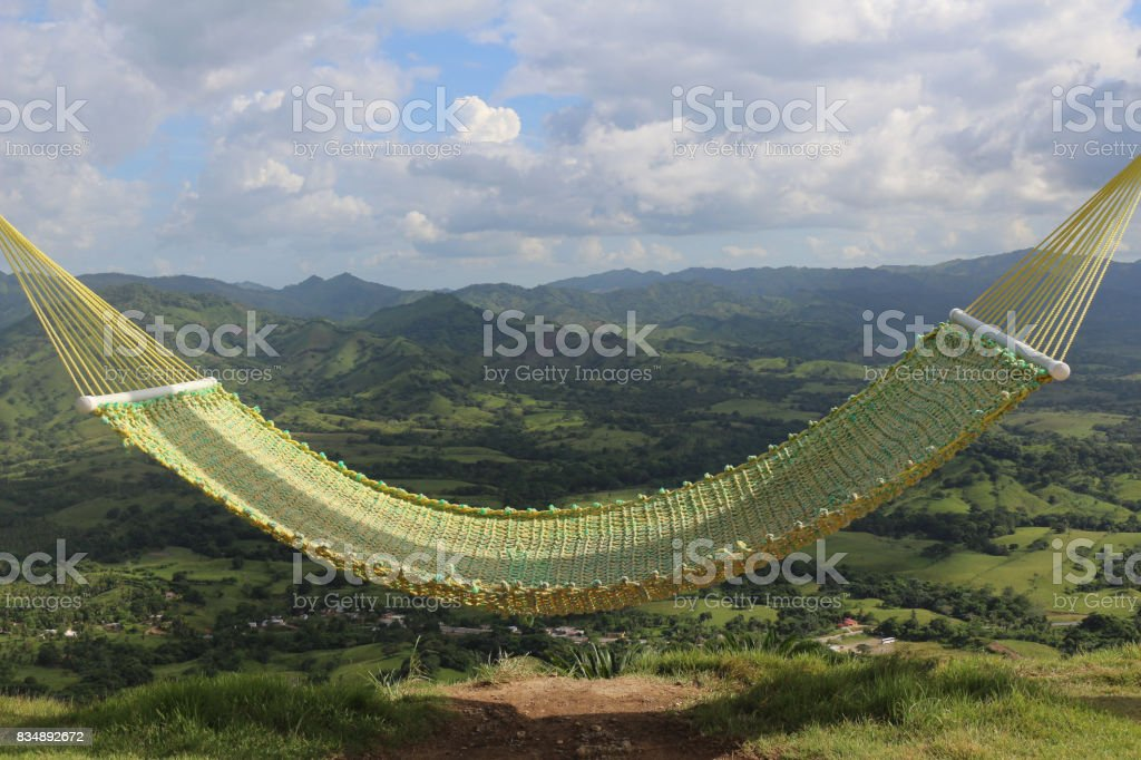 Relaxing hammock at countryside stock photo