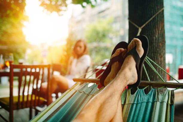 Relaxing in a hammock stock photo
