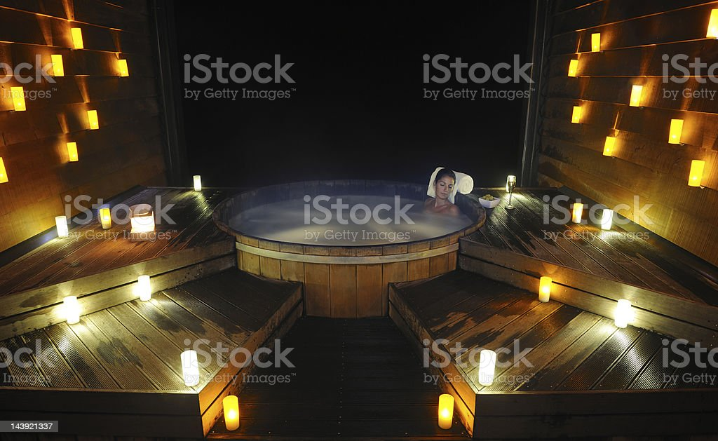 Relaxing in a traditional Steam Pool (XXXL) royalty-free stock photo