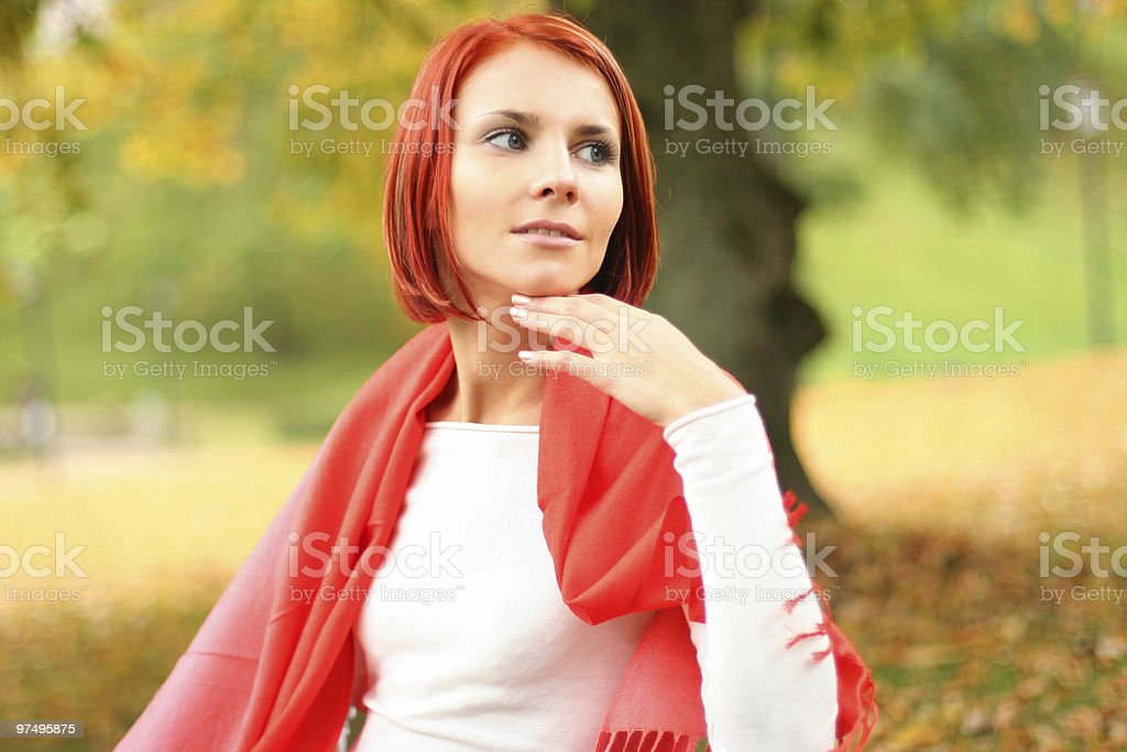 relaxing in autumn park royalty-free stock photo