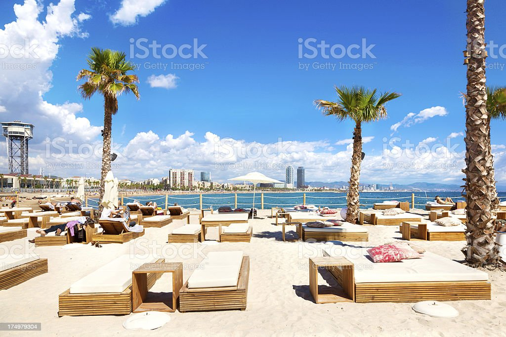 Relaxing in Barcelona stock photo
