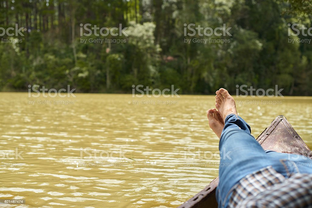 Relaxing in boat Lizenzfreies stock-foto