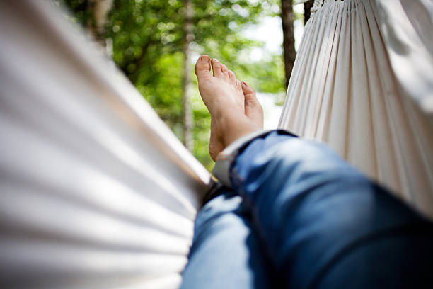 Relaxing in hammock stock photo