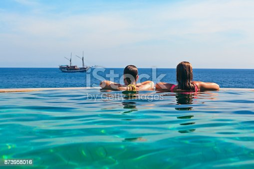 883117662 istock photo Relaxing in infinity swimming pool with sea view 873958016