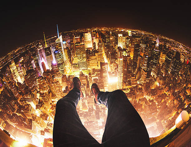 Relaxing in New York City on top of a building stock photo