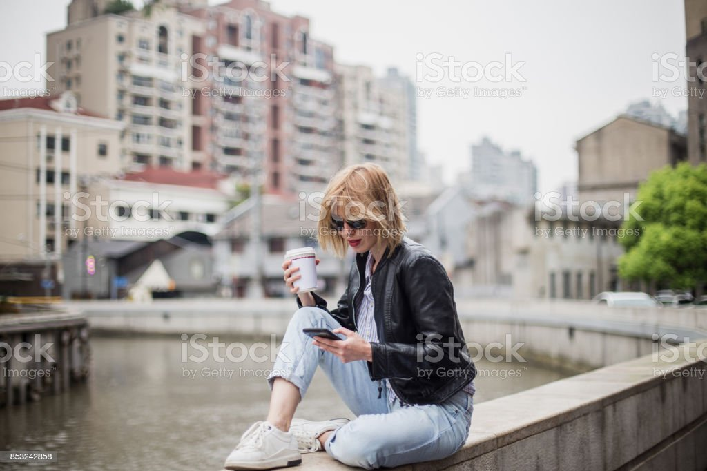 Relaxing in the city stock photo