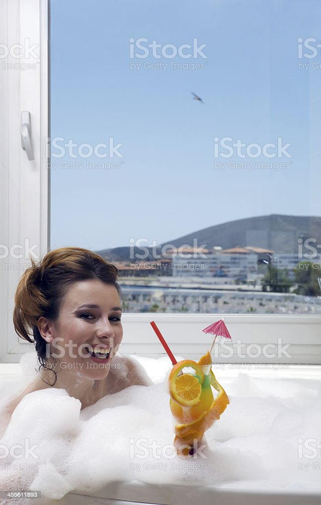 Relaxing in the jacuzzi royalty-free stock photo