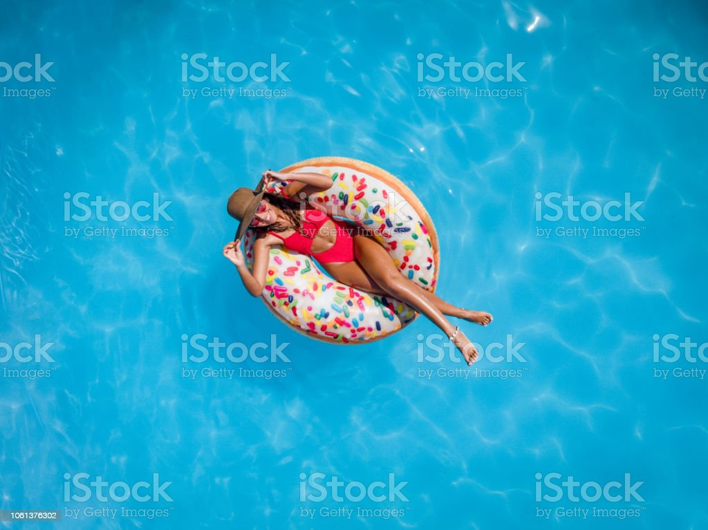 Relaxing In The Pool stock photo