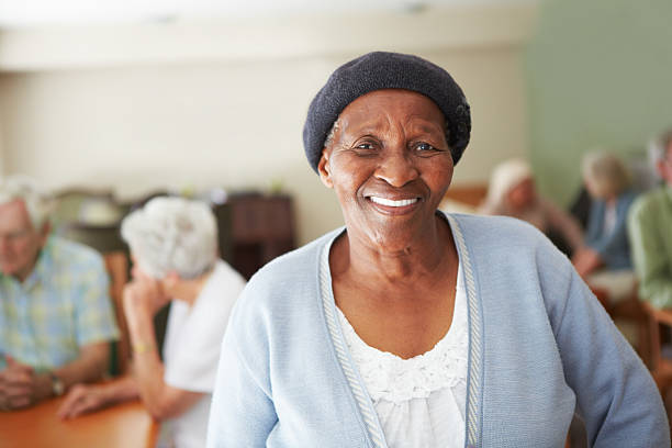 Relaxing in the retirement home stock photo
