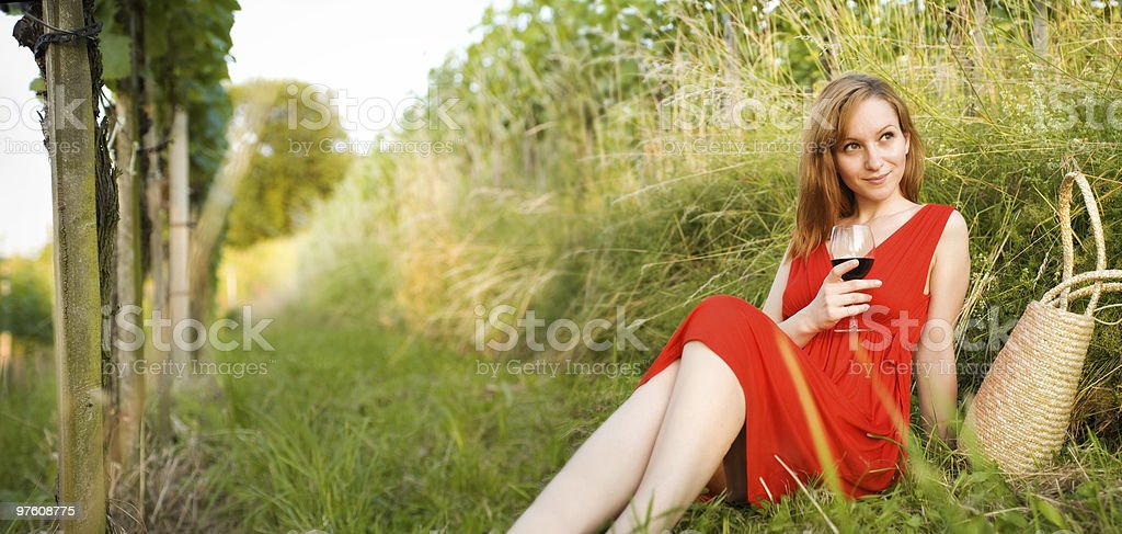 Relaxing in the wineyard - copy space royalty-free stock photo