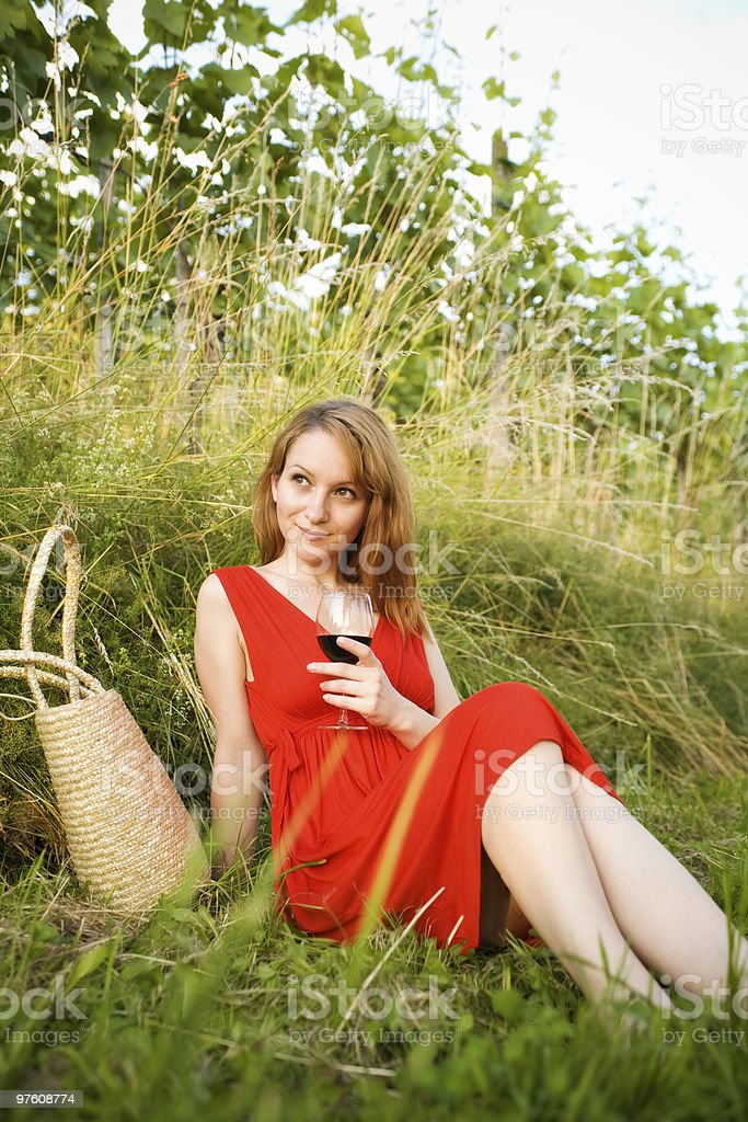Relaxing in the wineyard royalty-free stock photo