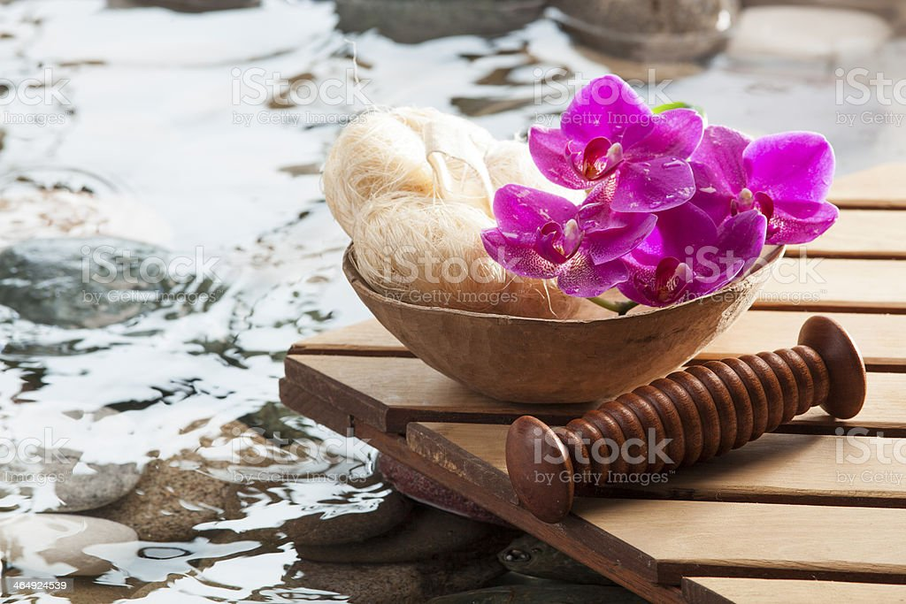 relaxing massage after hydration stock photo