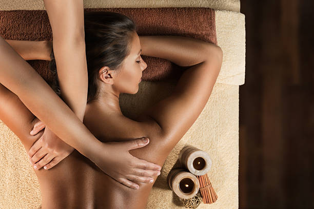 Relaxing massage in the spa salon stock photo