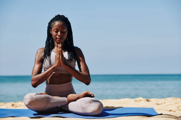 Relaxing meditation stock photo