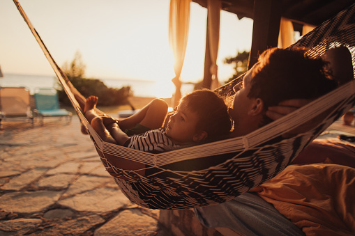 Relaxing moments in a hammock