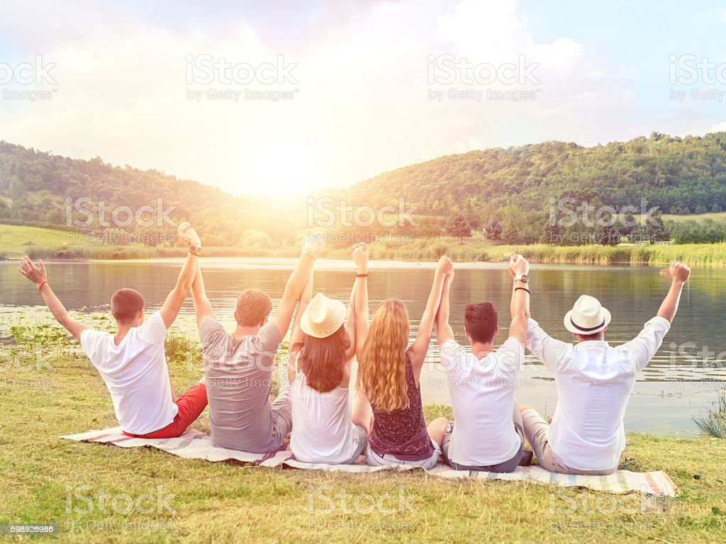 Relaxing moments with friends stock photo