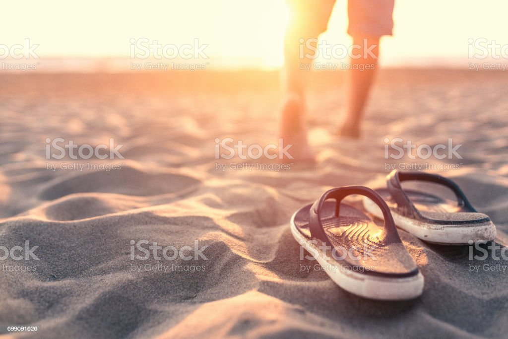Relaxing near sea at sunset stock photo