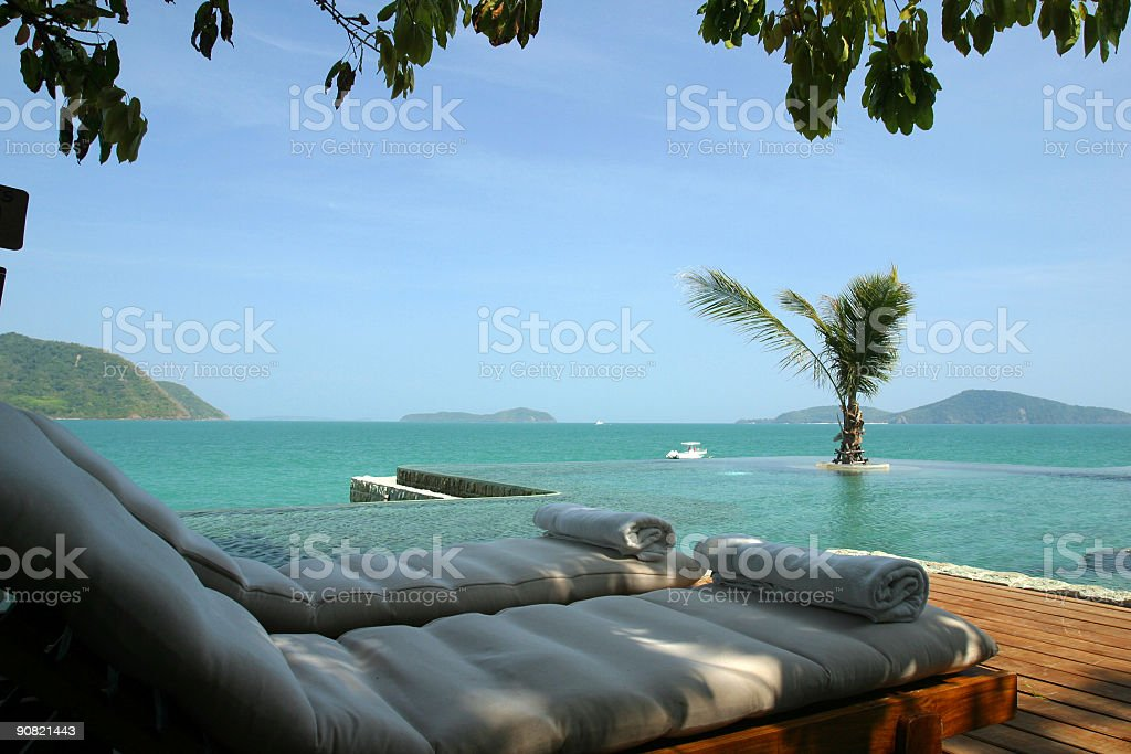 Relaxing ocean view beach scene royalty-free stock photo
