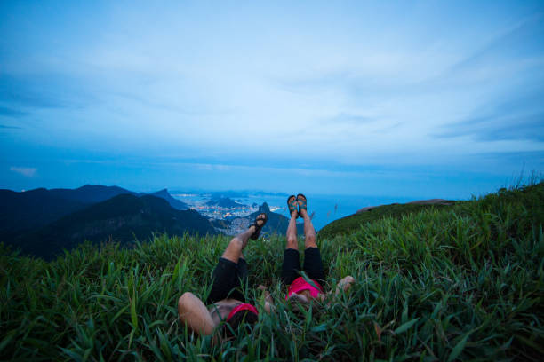 Relaxing on a beautiful evening above Rio De janeiro Brazil stock photo