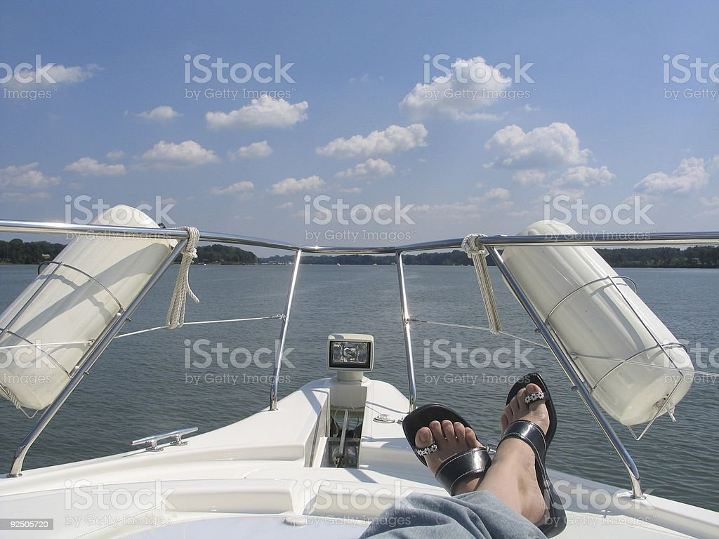 Relaxing on a Boat Cruise stock photo