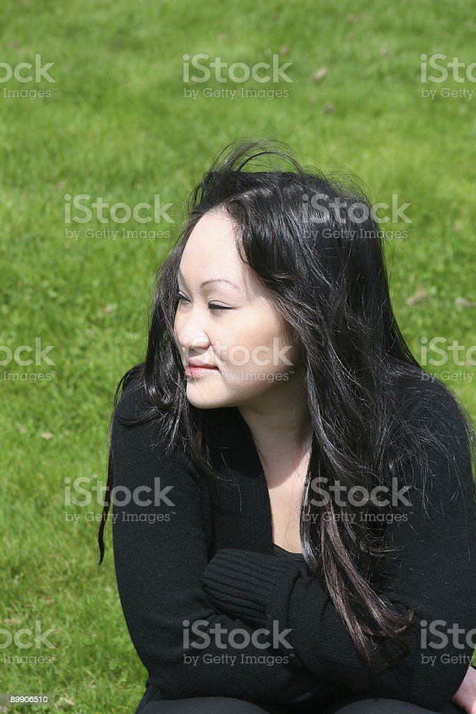 Relaxing On Grassy Hill royalty-free stock photo