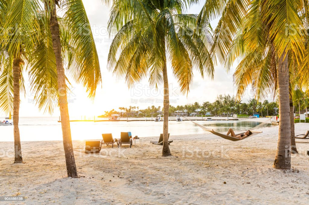 Relaxing on hammock after a beach day in the Caribbean - Cayman Islands stock photo