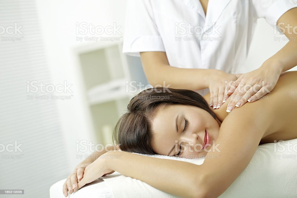 Relaxing on massage table royalty-free stock photo