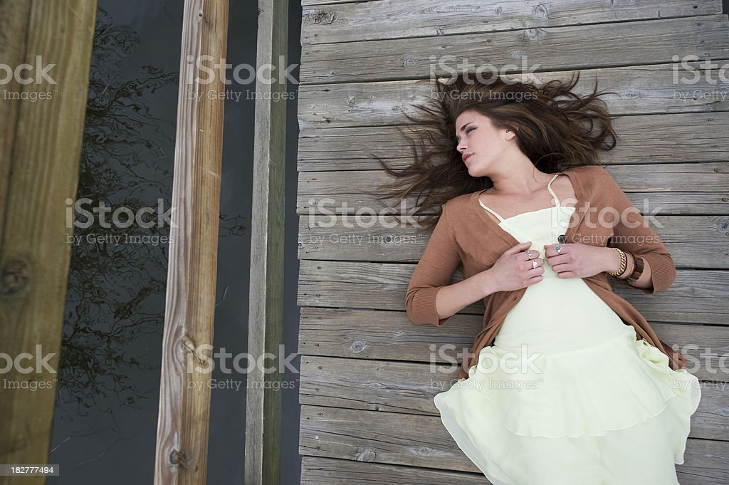 Relaxing On Planks stock photo