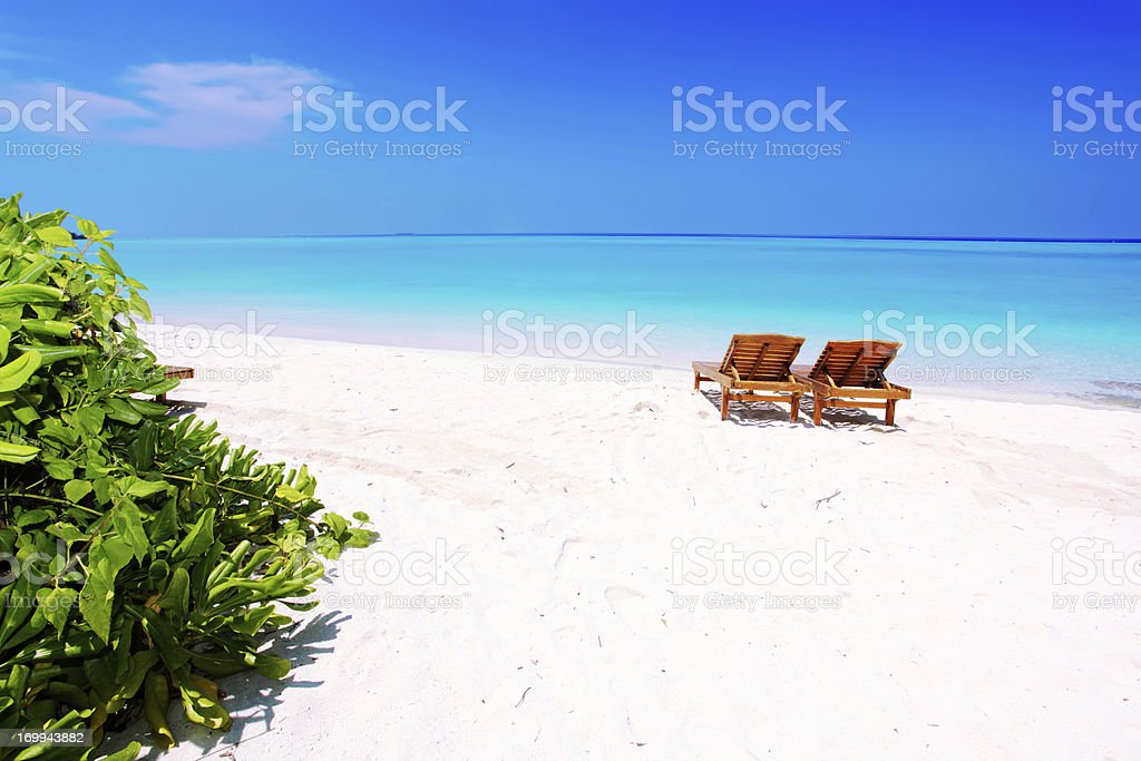 Relaxing on remote beach. royalty-free stock photo