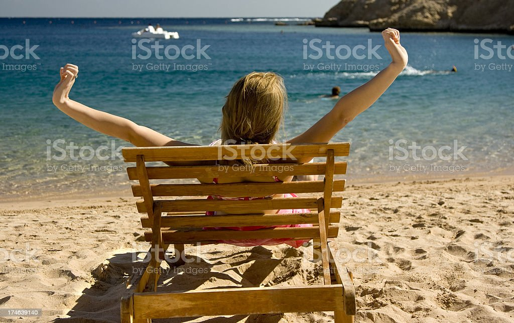 Relaxing on remote beach royalty-free stock photo