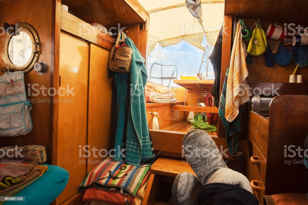 Relaxing on sailing boat, summer holidays stock photo