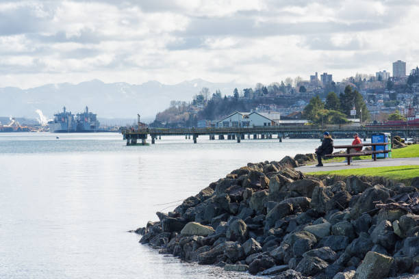 Relaxing on the Point Defiance Park stock photo