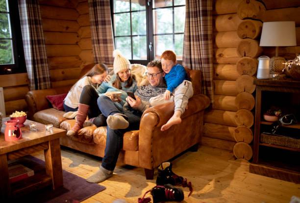 kanepede rahatlatıcı - kütük ev stok fotoğraflar ve resimler