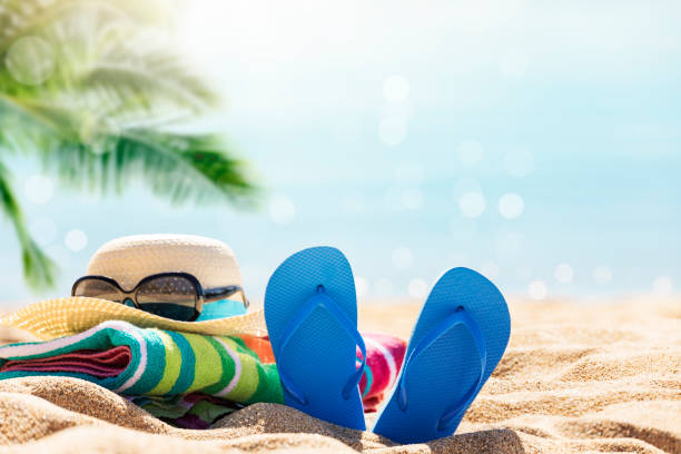 Relaxing on the tropical beach stock photo