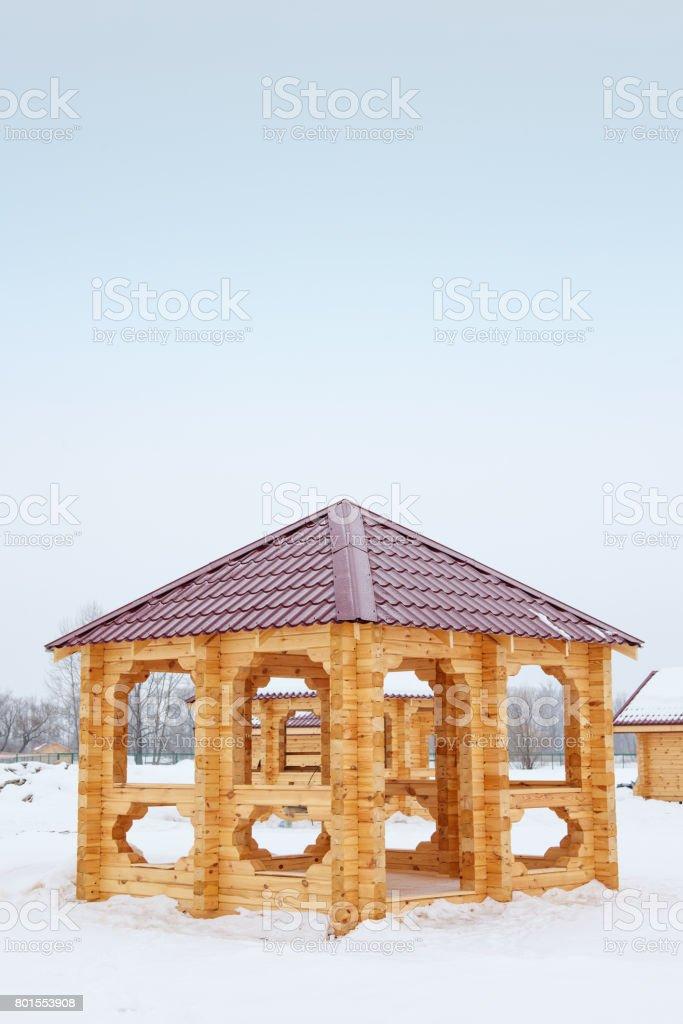 Relajante Terraza Con Vigas De Madera Fuertes Foto De Stock