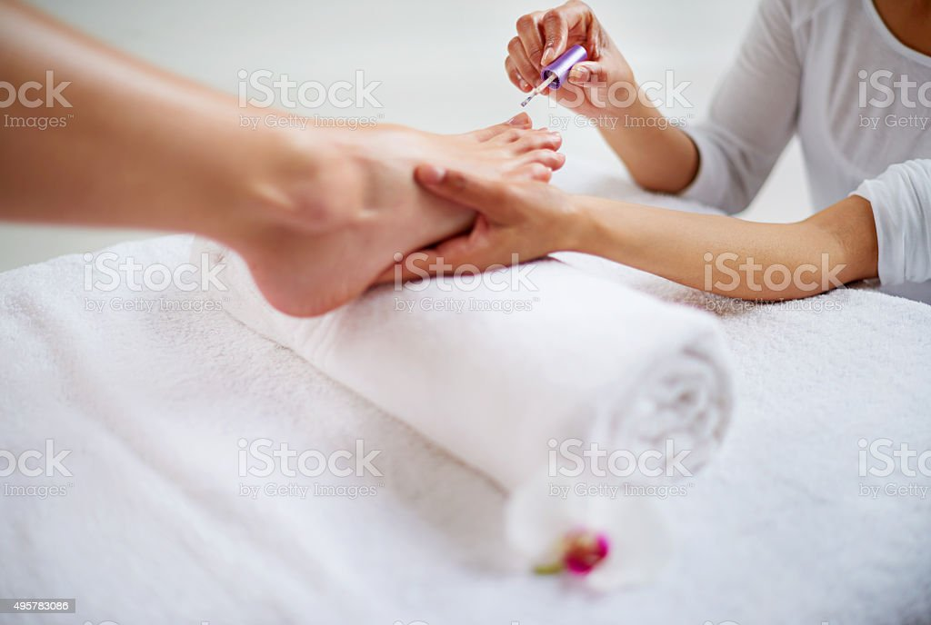 Relaxing pedicure stock photo