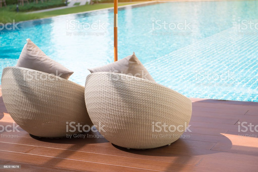 Relaxing rattan chairs royalty-free stock photo