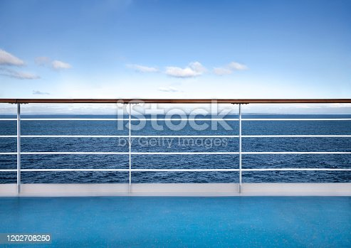 Railing deck of cruise ship against relaxing seascape. Travel concept