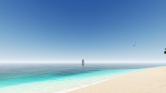 Relaxing seascape with wide horizon of the sky and the sea. Blue sky. Beautiful sky and blue ocean. 3d rendering. Beautiful beach with white sand and turquoise water.