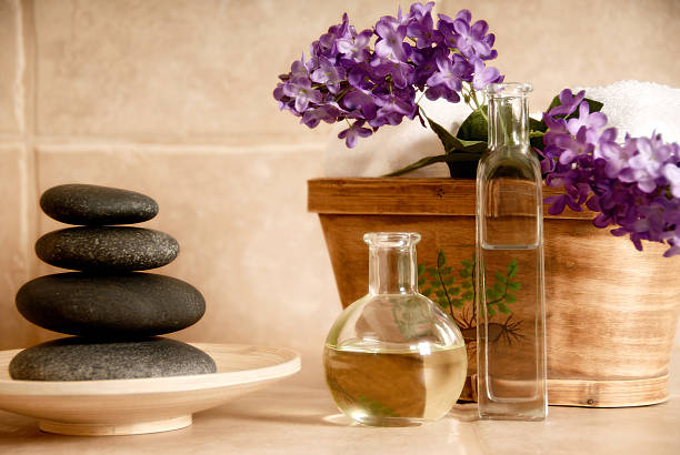Relaxing spa products arranged neatly stock photo
