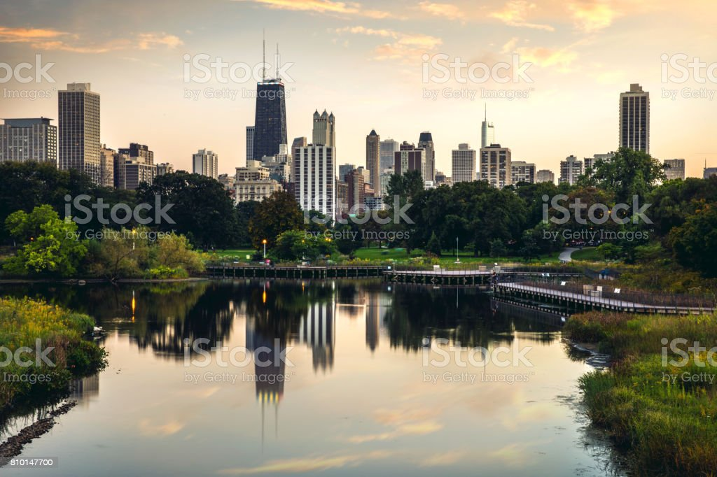 Relaxing sunset in Chicago - downtown district skyscrapers - skyline stock photo